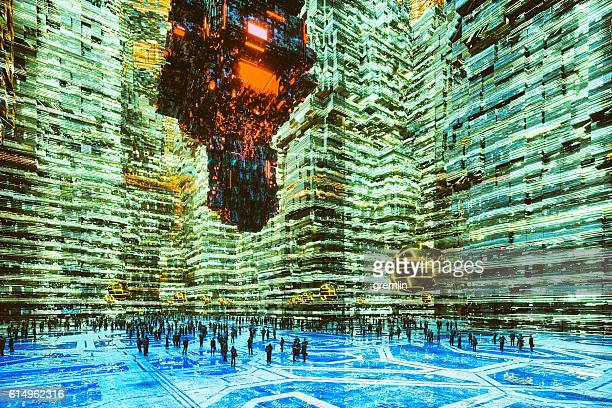 Futuristic cityscape with people