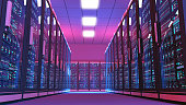 Data center server room illuminated by blue and purple lights with rows of black cabinets. Low angle view of an aisle surrounded by black cabinets with glass doors protecting servers with displays ful