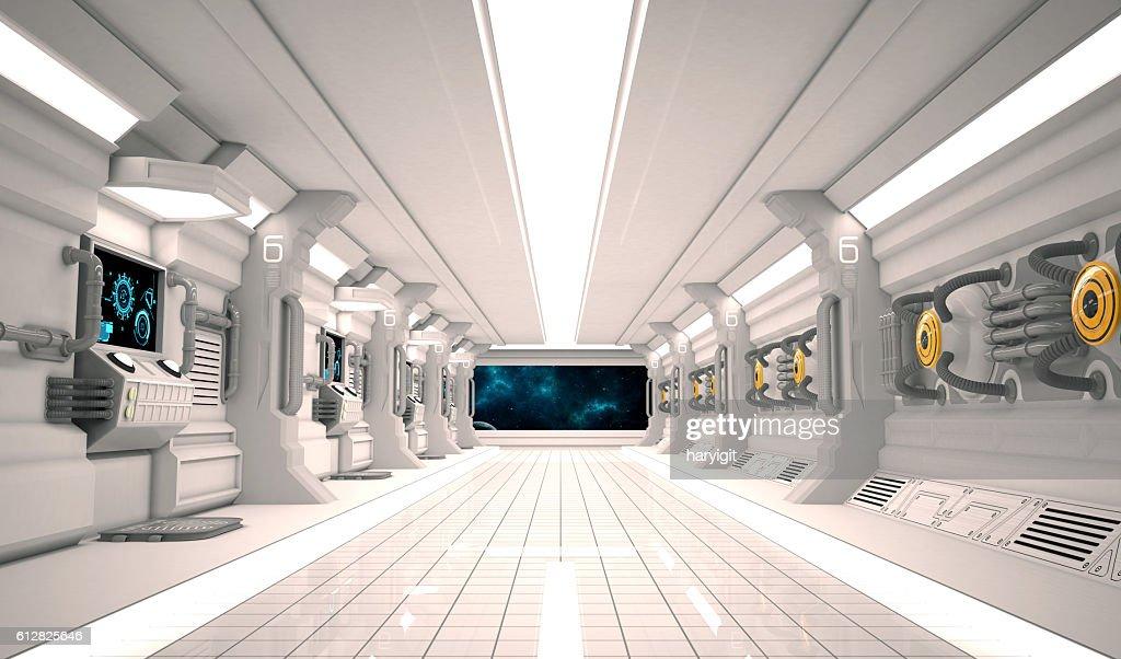 Futuristic Design Spaceship Interior With Metal Floor And Light Panels. :  Stock Photo