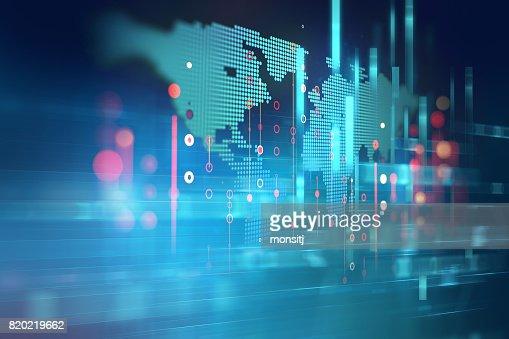 Futuristischen Technologie Abstrakter Hintergrund Erde Karte : Stock-Foto