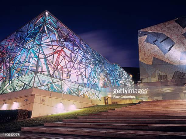 Futuristic Edge Theatre at dusk, Melbourne