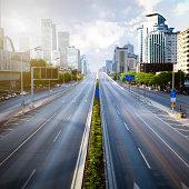 Futuristic empty green city