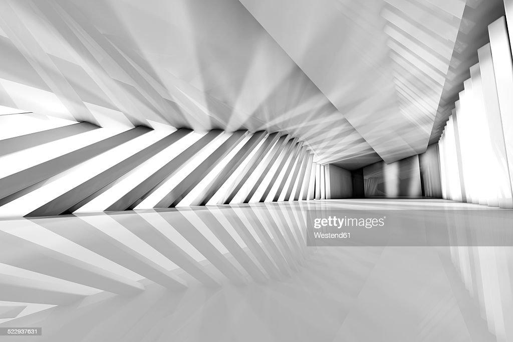Futuristic empty room, 3D Rendering : Stock Photo
