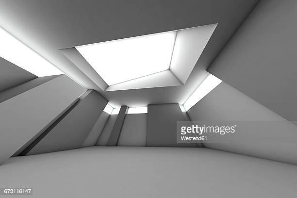 Futuristic empty room, 3D Rendering