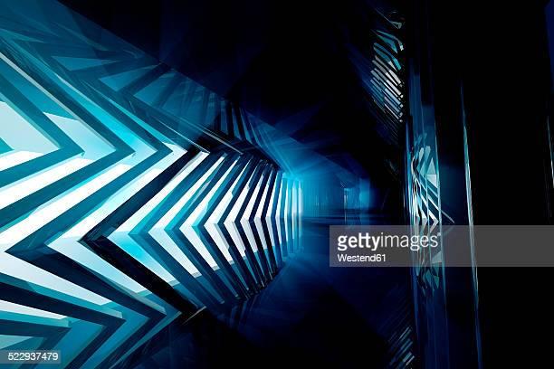 Futuristic empty room in blue, 3D Rendering