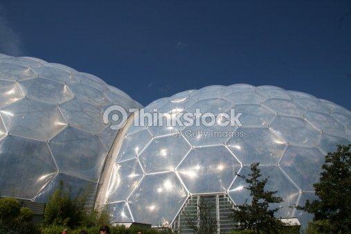 Futuristic Environmetal Friendly Structure Eden Project Stock Photo