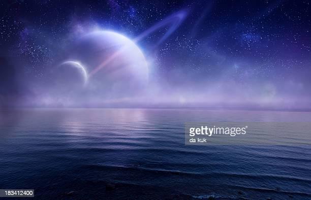 Futuristic evening seascape