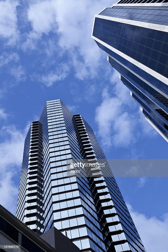 futuristic financial district : Stock Photo