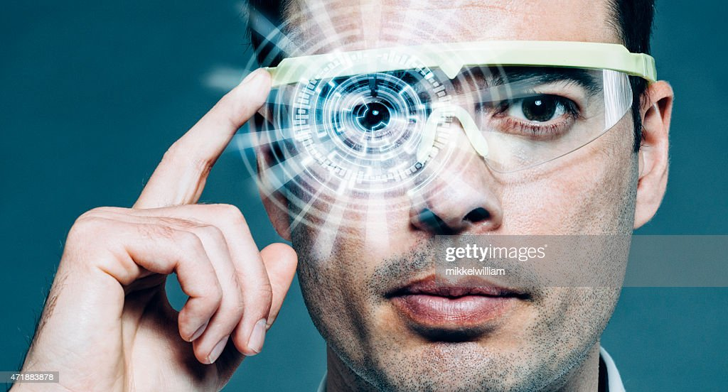 Futuristic glasses with heads-up display and augmented reality