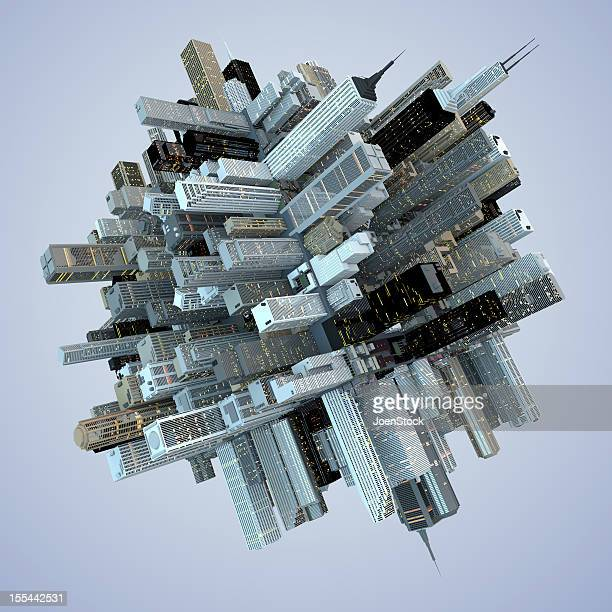 世界の摩天楼の未来的な建築物の抽象的な 3 D のキューブシティ