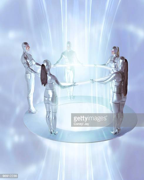 Futuristic group channelling energy beam.