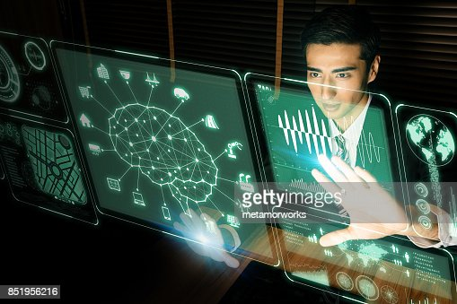 futuristic GUI. Artificial Intelligence. graphical user interface. head up display. : Stock Photo