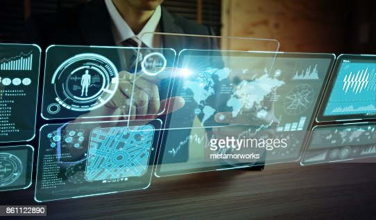 futuristic GUI. graphical user interface. head up display. : Stock Photo