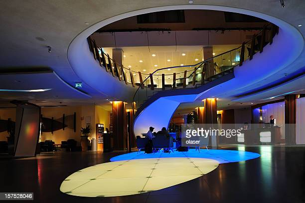 Futuristic hotel lobby