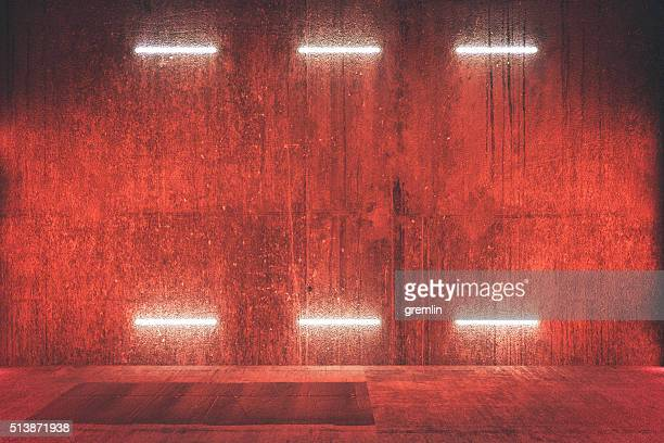 Futuristic illuminated red wall, background