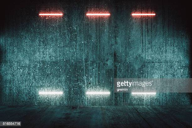 Futuristic illuminated red wall, background