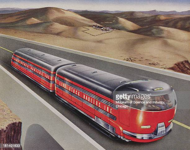 Futuristic illustration of a Cross Country Cattle Hauler driving through a highway surrounded by desert landscape stating that this vehicle can have...