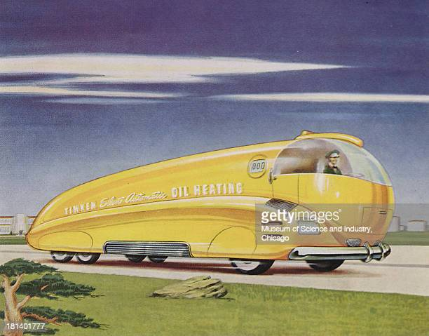 Futuristic illustration of a fuel oil truck showing the yellow fuel oil truck moving down the highway stating that oil is an ammunition and that...