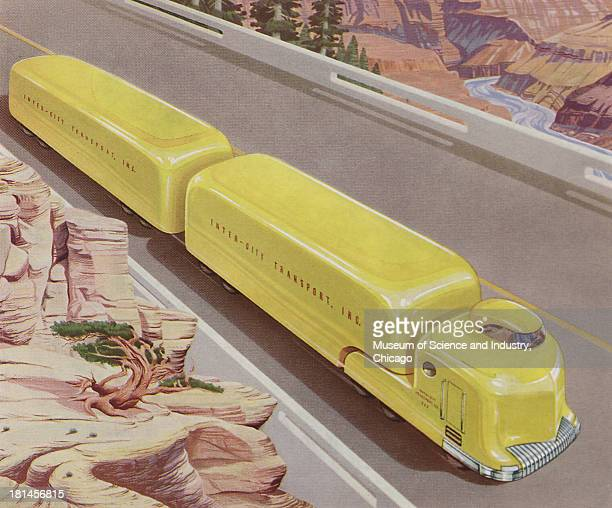 Futuristic illustration of an InterCity TruckTrailer Combination showing an image of one driving down the road with a desert and canyons bordering...