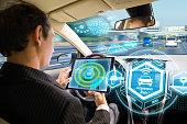 Futuristic interface of autonomous car. Self driving vehicle. Driverless car.