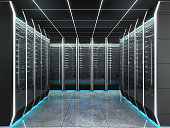 Futuristic interior of server room in data center. Concept of quantum super computer with artificial intelligence. 3D illustration.