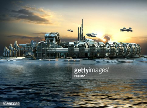 Futuristic island city : Stock Photo