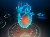 Heart with pain center. Virtual digital imaging. 3d illustration.