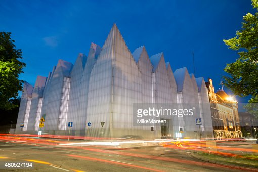 Futuristic office building in Szczecin Philharmonic : Bildbanksbilder