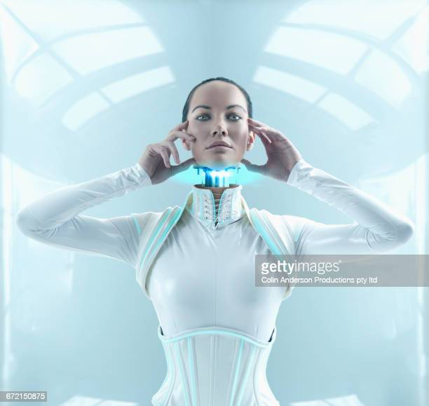 Futuristic Pacific Islander woman android lifting detached head