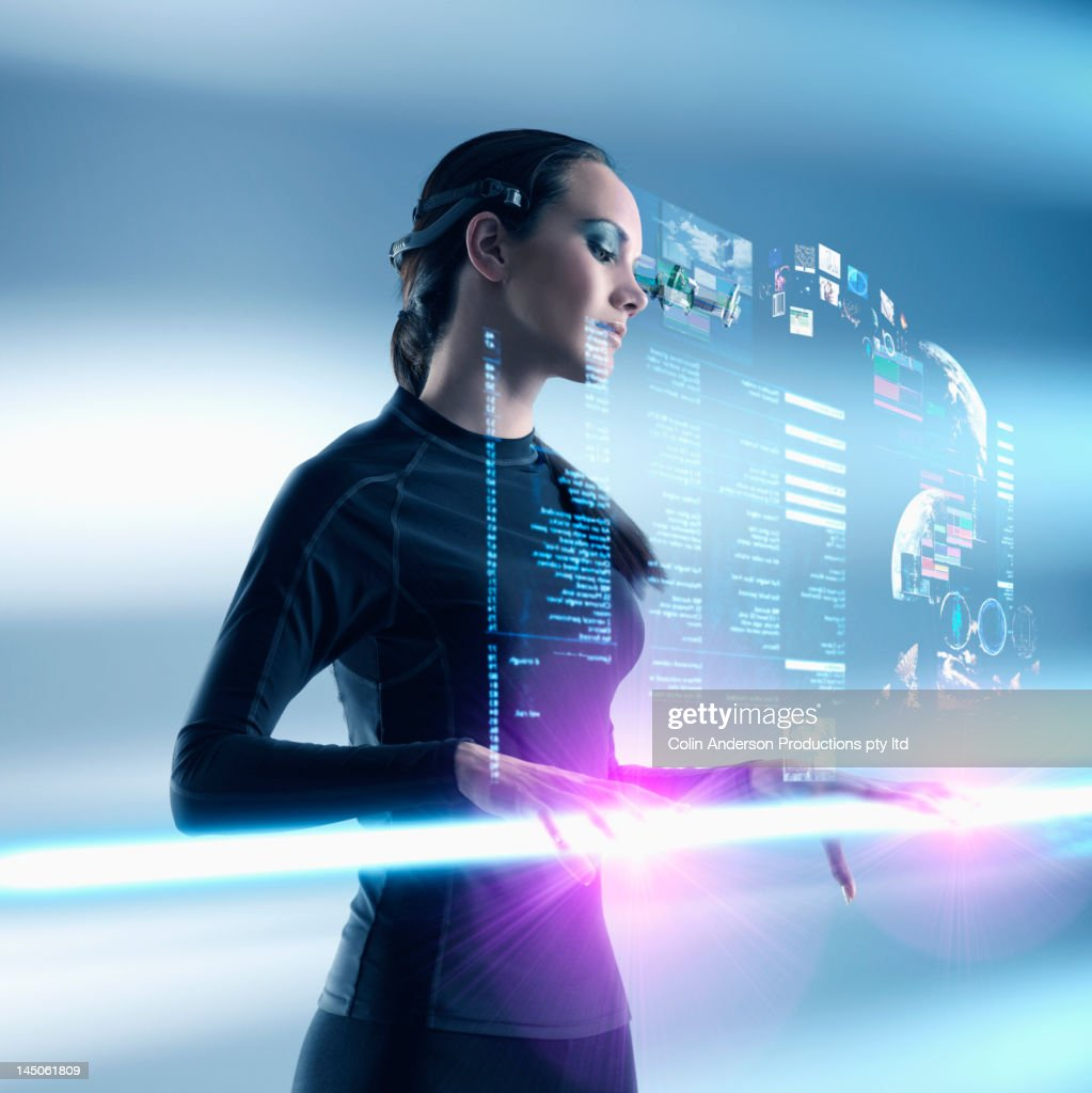 Futuristic Pacific Islander woman using digital screen
