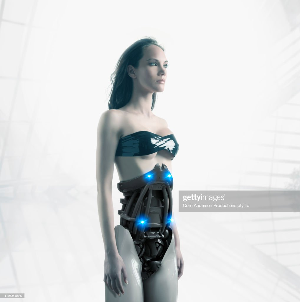 Futuristic Pacific Islander woman with robotic torso