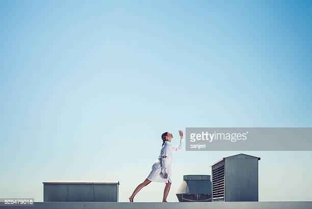 Futuristic portrait of a fashion model