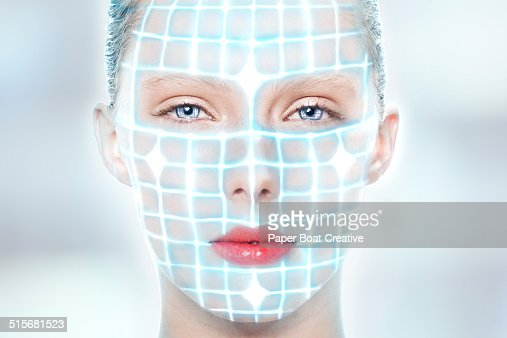 futuristic portrait of a lady with laser beams