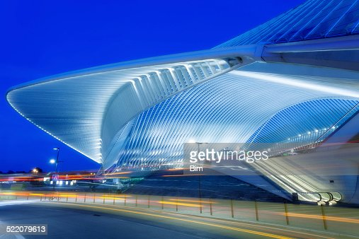 Futuristic Railway Station Building Illuminated at Night