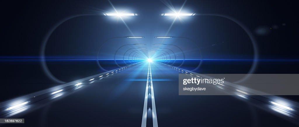 Futuristic Road Zooming Speed Flat Horizon