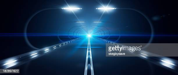 Futuristic Road Zooming Speed Flat Horizon