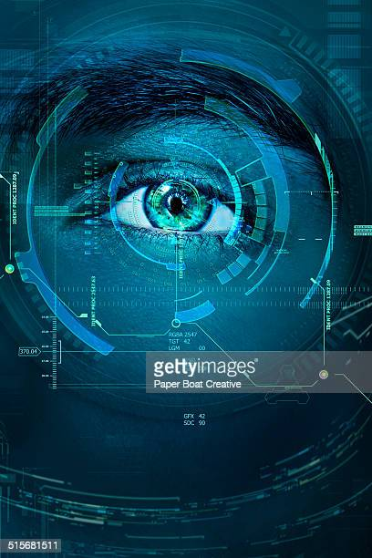 Futuristic scan of a man's eye in a lab