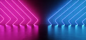 Futuristic Sci Fi Modern Elegant Alien Dark Grunge Concrete Room With Purple Pink Blue Glowing Triangle Shaped Neon Tubes Reflection Background 3D Rendering Illustration