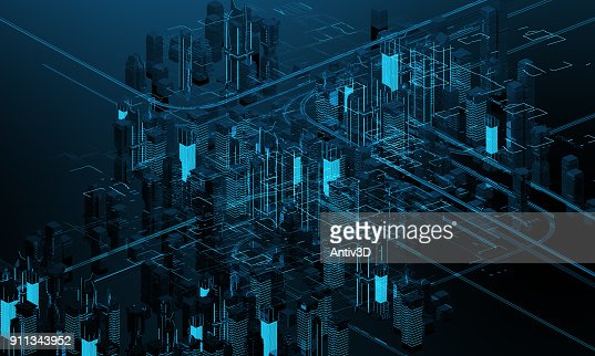 Futuristic skyscrapers in the flow. The flow of digital data. city of the future. 3D illustration. 3D rendering : Stock Photo