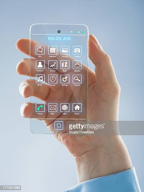 Futuristic smartphone in the hands