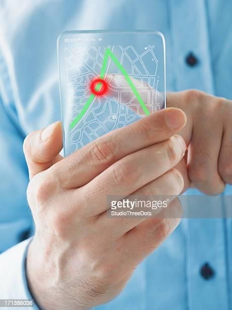 Futuristic smartphone in the hands