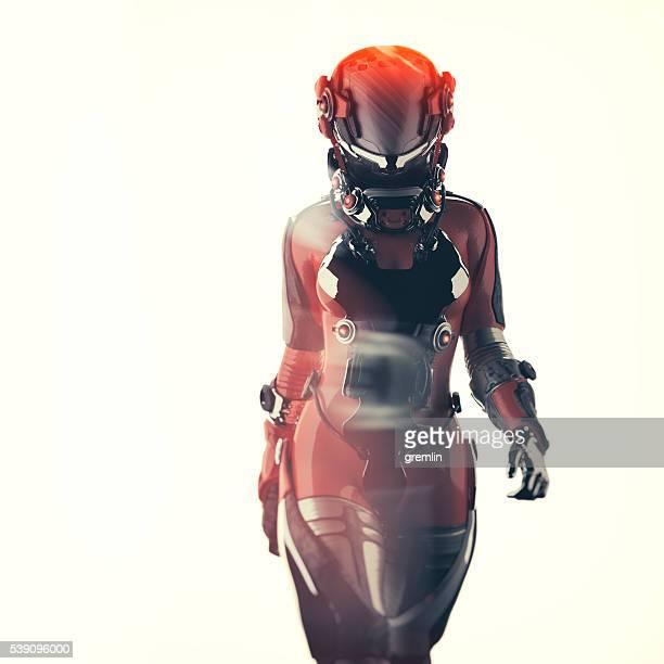 Futuristische raumanzug, astronaut, der cyborg