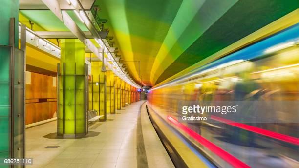 Futuristic subway station in Munich Germany