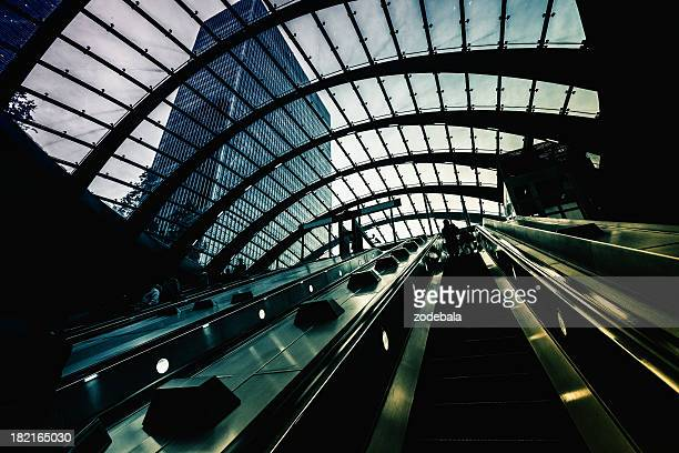Futuristic Underground Station in Canary Wharf, London