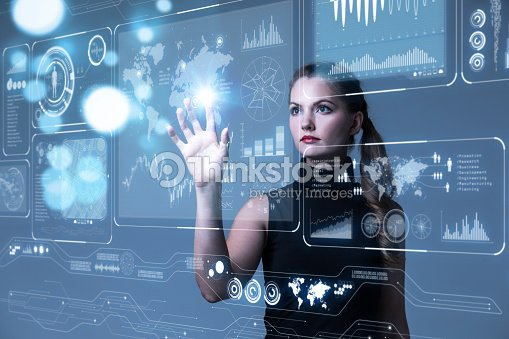 Futuristic user interface concept. Graphical User Interface(GUI). Head up Display(HUD). Internet of things. : Stock Photo