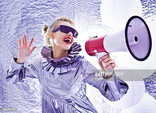 Futuristic woman with megaphone