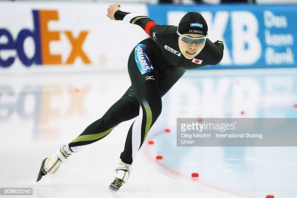 Fuyo Matsuoka of Japan compete in the Ladies 3000 meters race during day 1 of the ISU World Single Distances Speed Skating Championships held at...