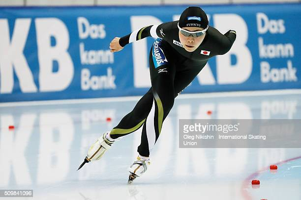 Fuyo Matsuoka of Japan compete in the Ladies 5000 meters race during day 2 of the ISU World Single Distances Speed Skating Championships held at...
