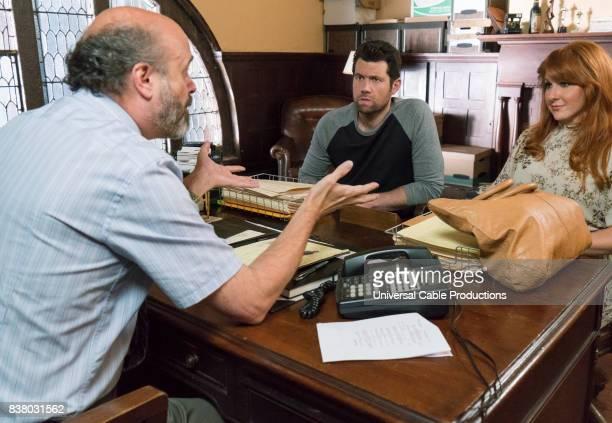 PEOPLE 'Fuzz Buddies' Episode 307 Pictured Scott Adsit as Stan Billy Eichner as Billy Epstein Julie Klausner as Julie Kessler