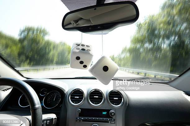 Fuzzy Dice in Car Interior